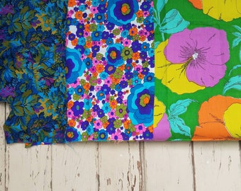 Retro Floral Fabric Remnants or Scraps - Vivid + Bright Flower Material, Upholstery or Drapery Fabric Quilting Squares, Vintage Home Decor