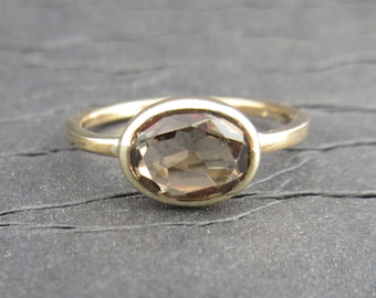 14k Yellow gold Smoky Quartz East to West Ring - Oval East West Ring - Smoky Quartz Ring - Made to Order