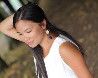 "Earrings ""Iku"" mahogany wood and colorful feather"