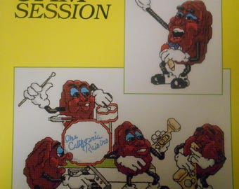 Jam Session, California Raisins, Just Cross Stitch, Pattern Leaflet #5, 1988