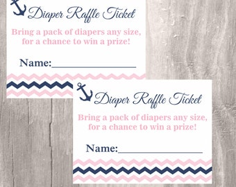 Nautical Diaper Raffle Tickets, Printable Pink and Navy Baby Shower Diaper Raffle Cards, Instant Download, Nautical Baby Shower Girl