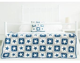 PDF download CROCHET Blanket pattern,cushion Pattern,new baby kid's blanket,five-pointed star blanket pattern