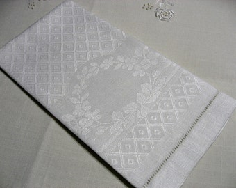 "Antique Edwardian diamond damask linen towel 20"" x 14.75"" tea hand"