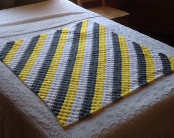 no. 26 Crocheted lap afghan in yellows, greys and whites