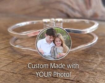 Custom made silver plated bangle photo bracelet