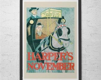 Antique HARPERS POSTER Art Nouveau Poster High Quality Giclee Print Belle Epoque Poster Art Nouveau Print