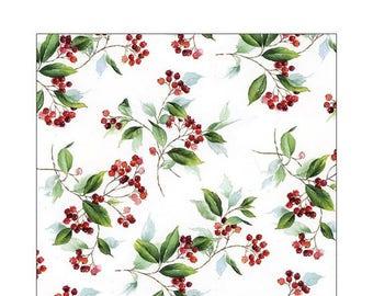 HOLLY NAPKINS, Christmas Napkins, Traditional Christmas Napkins, Paper Christmas Napkins, Holly Leaves Napkins, Red Green Napkins