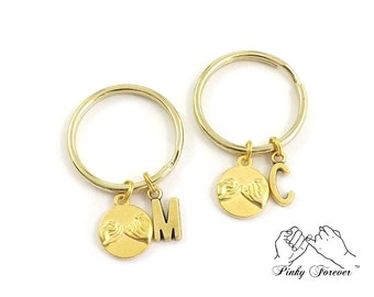 Best Friend Gift, Pinky Promise Keychains, Couples Set, Gold Personalized, Boyfriend Gift, Girlfriend Gift, Pinky Swear, Wife Gift