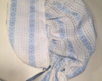 Girls Size Small 3-6 Blue & White Striped Eyelet Laura Ingalls Pioneer Prairie Colonial Sun Bonnet with Bow