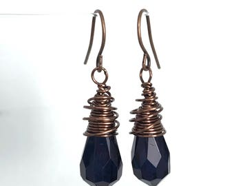 Small wire wrapped acrylic faceted drops copper