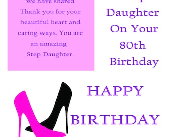 Step Daughter 80 Birthday Card with removable laminate