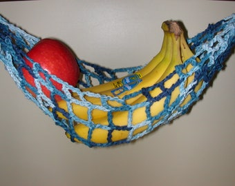 Banana Hammock, Fruit Hanger, Holder, Net, Variegated Blue Jeans Blues