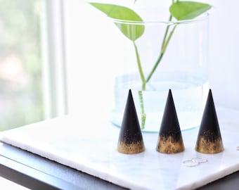 BLACK + GOLD Concrete Ring Cone
