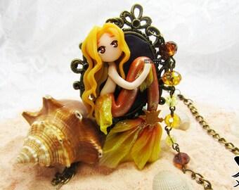 Sun Mermaid||Mermaids||Necklace||Polymer Clay||Sun||Planet||Galaxy||Universe||Mermaid||Antique gold||