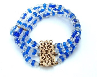 Art-Deco Kristall Armband Manschette durchsichtig mit facettiertem Saphirglas blau Schmuck