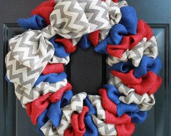 Patriotic Burlap Wreath, Summer Burlap Wreath, Patriotic Wreath, Americana Wreath, Red, Blue and Chevron Wreath with Chevron Bow