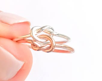 Stacked Knot Rings- Sterling Silver, Rose Gold, Thick Double Knot Ring, Stacking Rings, Love Knot Ring, Double Knot Ring