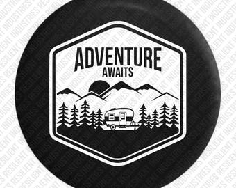 CAMPER RV Spare Tire cover Jeep Wrangler Bear Adventure Badge Jk Tj Lj Yj Cj Unlimited 4X4 Moab Sahara Camping Air Stream