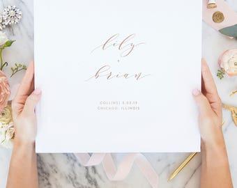 Rose Gold Foil Wedding Guest Book, Calligraphy Guest Book, Wedding Guestbook, Custom Guest Book, Wedding Album, Guest Book, 02