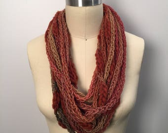 Rust/Brown Lucetted Scarf Necklace with Repurposed Leather Detail - Hand Knit w/ Lucet