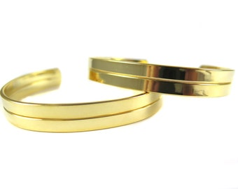 Gold Plated Split Road Engraving Cuff Bracelet (1x) (K424-C)
