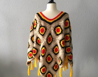 1970's Crochet Vintage Boho Hippie Hand Made Fringed Poncho