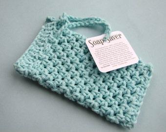 Robin's Egg blue soap saver light blue aqua crocheted soap sack