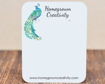 Earring Display Cards - Watercolor Peacock Bird Feather - Customized Jewelry Tags Packaging | #DS092