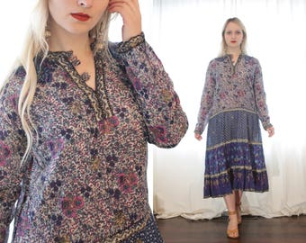 Vintage 1970s airy cotton gauze Indian long sleeve block print dress indigo blue purple cream India ethnic boho