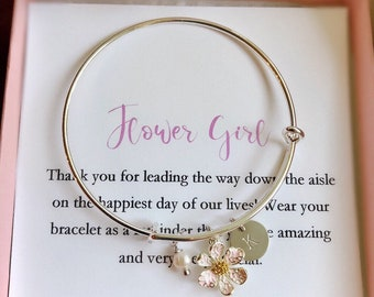 Flower girl bracelet, toddler flower girl bangle, personalized flower girl gift, flower girl jewelry, little girl bracelet, child bangle