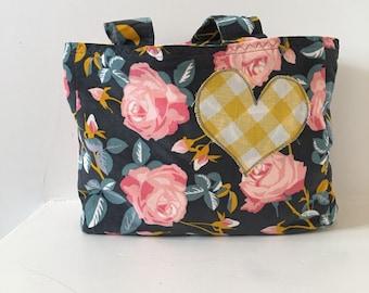 Girls Tote/ Gray Corduroy Purse/ Yellow Chevron Bag