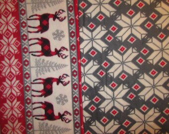 Fleece Tie Blanket-Stags/Winter Print and Gray Snowflake, large