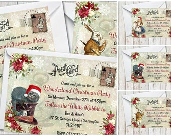 4 x Alice in Wonderland Personalised Christmas Party Invitations & Envelopes