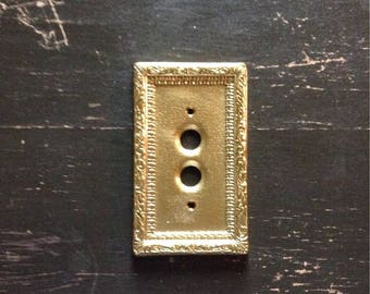 Vintage Brass Push Button Switch Plate Cover