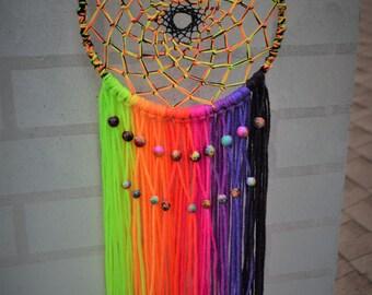 Neon Rainbow UV Galaxy-Themed Dreamcatcher