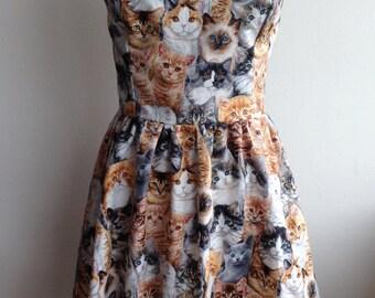 Kawaii Allover Cats Cat Print Kittens Kitty Sweetheart Strapless Dress