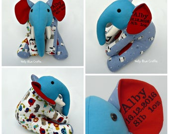 Memory and Keepsake Elephant made from babygrows ones. personalised.