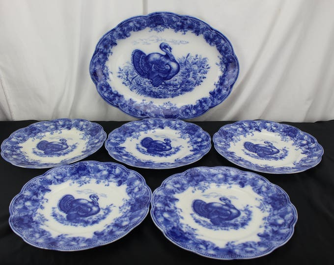 "Vintage Wedgwood Fine China Flow Blue Large 18"" Turkey Platter 5 Dinner Plates Clytie Pattern"