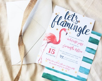 Let's Flamingle Bachelorette Invitation, Printable