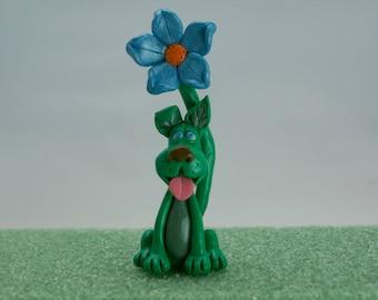 Dog Art Figurine, Fantasy Flower Puppy Creature
