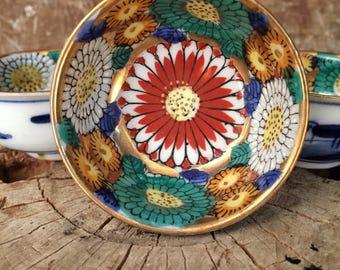 Sauce Dipping Set Vintage Japanese Porcelain Floral Set of 4 Dishes Bowls