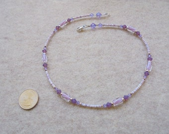Necklace - Handmade - Heishi, Swarovski, Furnace Glass, Sterling Silver