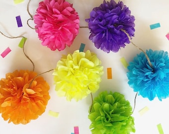 NEON JOY mini pompom garland 90's theme birthday party baby bridal shower engagment party prop wedding decorations high chair cake table