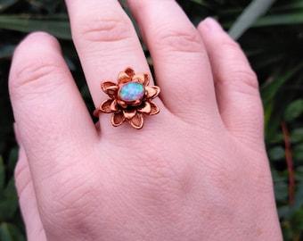 Pink Opal Lotus Ring ~ Copper Electroform Flower Ring Size 7.75