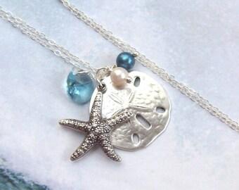 Starfish Necklace, Sand Dollar Necklace, Tropical Necklace, sterling silver, aqua, swarovski, blue, beach, fashion, women