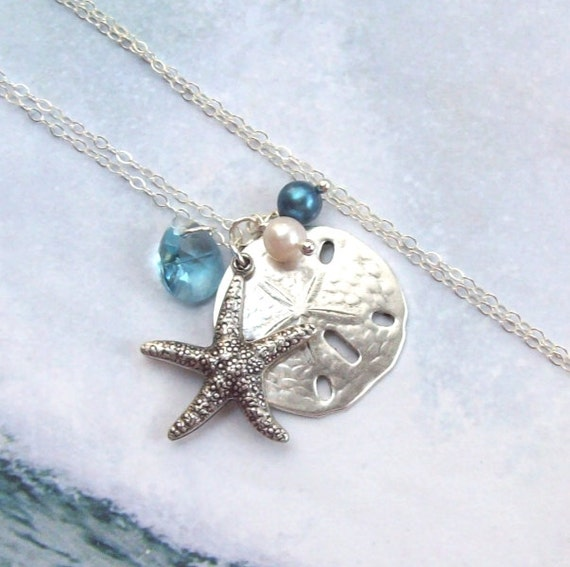 Starfish necklace sand dollar necklace tropical necklace starfish necklace sand dollar necklace tropical necklace sterling silver aqua swarovski blue beach fashion women aloadofball Image collections