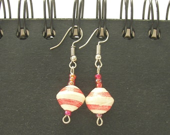 Pink and White Paper Bead Earrings Hand-made in Uganda