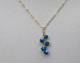 Tiny Irridescent Blue Crystal 14K gold filled Necklace