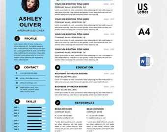 Modern Resume Template | Resume Template for Word and Pages | 1, 2,3 Page Resume Template | Instant Download Resume Template / CV Template
