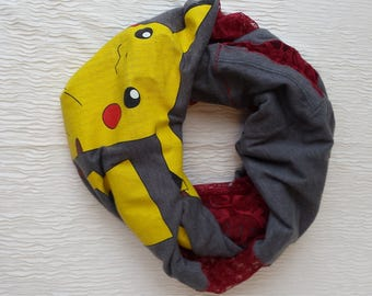 Picachu Infinity Scarf made from upcycled T-shirt